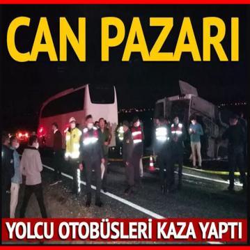 İki yolcu otobüsü kaza yaptıı